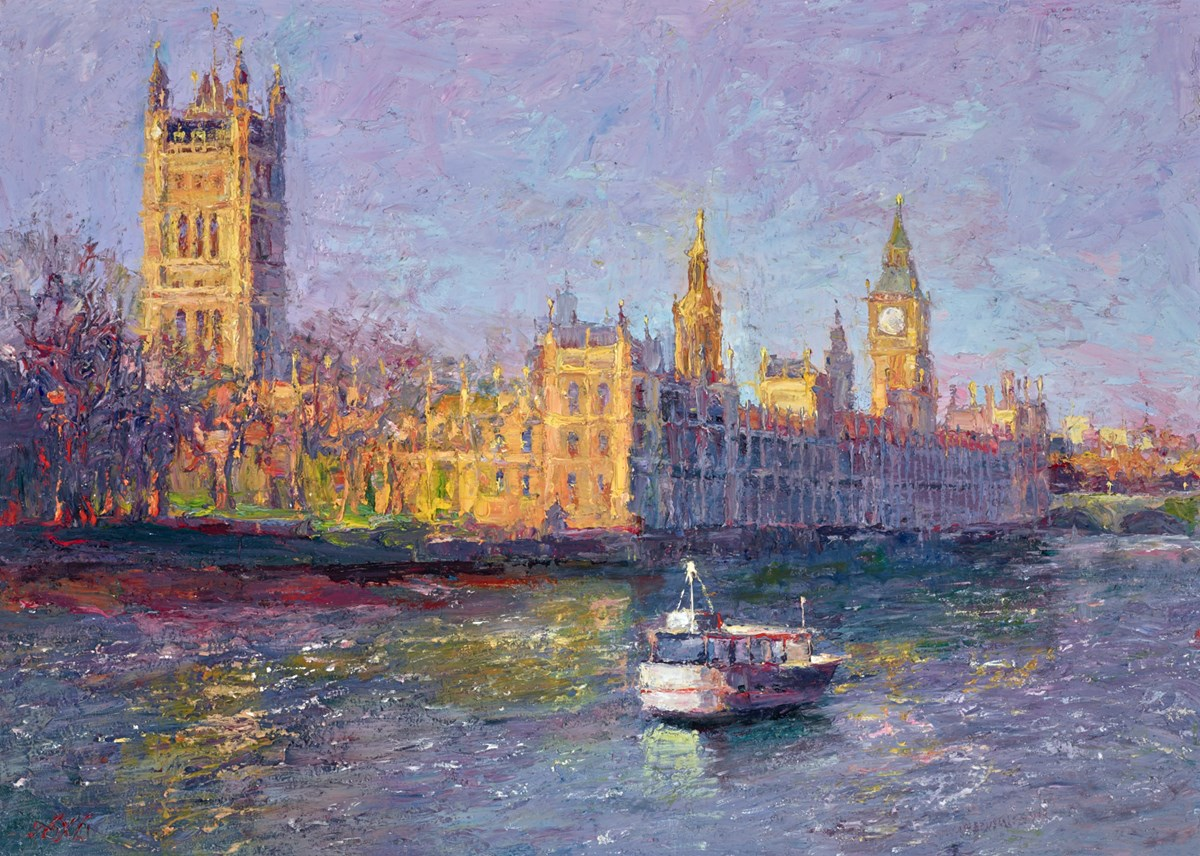 Sunny Day, Palace of Westminster by lana okiro -  sized 28x20 inches. Available from Whitewall Galleries